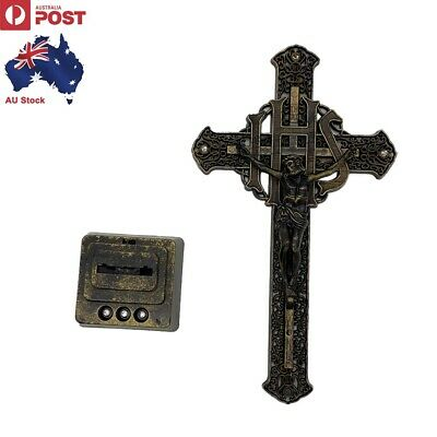 Jesus Crucifix Cross Statue LED Flashing Base Multicolor Light Change Religious