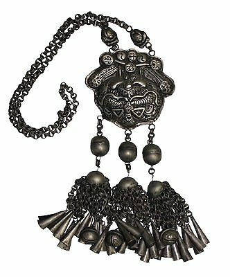 Chinese Tribe MIAO Group of People / Authentic Antique Silver Necklace 02