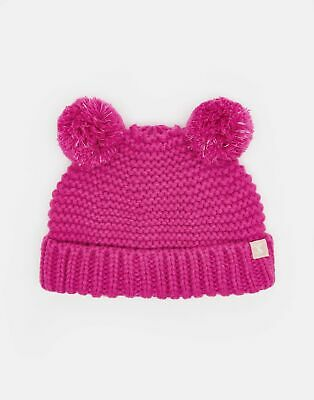 Joules Baby Pom Pom Knitted Double Hat in TRULY PINK Size 1yrin2yr