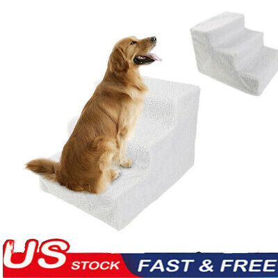 US Pet Stairs 3 Step Portable Dog Ladder Indoor Puppy Cat Ramp Steps Stair White