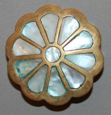 Antique Small Mother Of Pearl Brass Box
