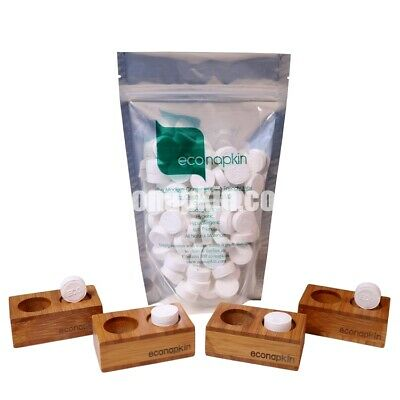 100 Pack Compressed Napkin & 4 Bamboo Presenters