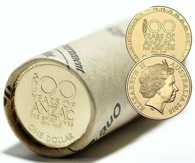 2016 100 YEARS OF ANZAC One Dollar $1 Unopened Australian Mint Roll Uncirculated