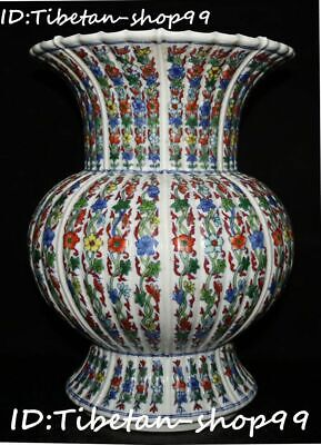 Top China Wucai Porcelain Qing Dynasty Palace Flower Bottle Vase Jar Pot Statue