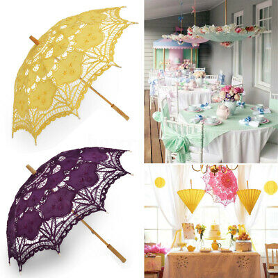 Handmade Lace Embroidered Sun Parasol Umbrella Bridal Wedding Dancing Party