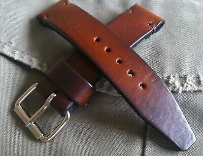 Super strong 4mm thick Vintage Military leather watch strap all sizes