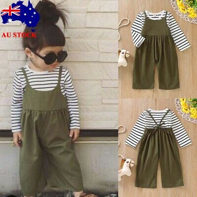 Toddler Kid Baby Girl Striped Blouse Shirt Jumpsuit Pants Leggings 2PCS Outfits