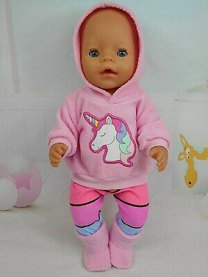 """Dolls clothes for 17"""" Baby Born doll~PINK UNICORN HOODIE/ STRIPE LEGGINGS/BOOTS"""