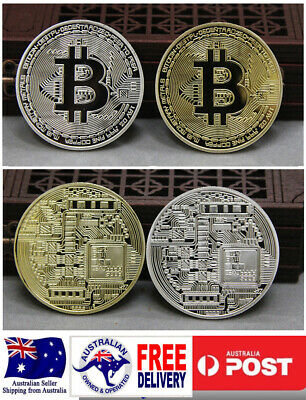 2 PCS/set Bitcoin Gold and Silver Plated  Bronze Physical BTC coins with Case