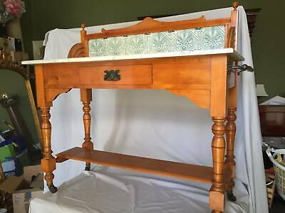 Antique Stunning Huon Pine and Marble Washstand with tiled Splash-back