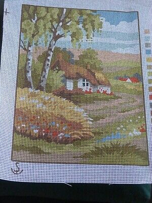 Thatched Cottage Scene Printed Tapestry/Needlepoint Canvas 22cm x 30cm