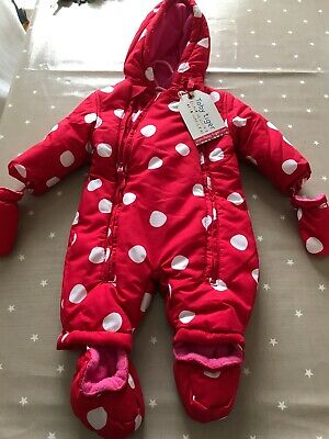 BNWT winter Snow Suit Age 0-3 Months. Ex Shop Stock Detachable Mittens And Boots