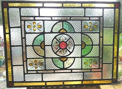HAND PAINTED ANTIQUE STAINED GLASS PANEL - REF SG400 - please read listing.