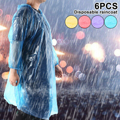 6x Impermeable emergencia desechable Poncho Lluvia Festival Camping Senderismo