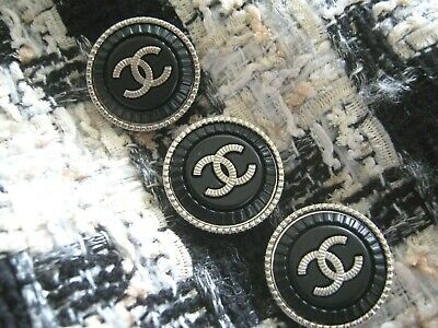 Chanel 3 cc buttons  silver black 22mm lot of 3 good condition