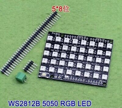 8x5 40 LED 5050 RGB Dot Matrix WS2812 Full-Color Driver Module Board For Arduino