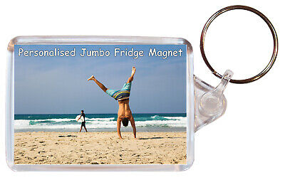 Personalised Own Photo Gift Keyring 65 mm x 43 mm Key Chain Ring Custom Present