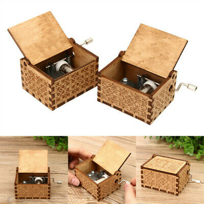 Hand Crank Collectible Music Box Engraved Wooden Box Theme Toys Birthday Craft
