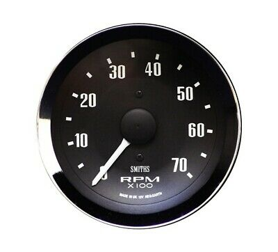 Smiths 80 mm Electronic Revcounter 4,6;8 Or 12 Cyl NEW CHROME BEZEL BLACK FACE