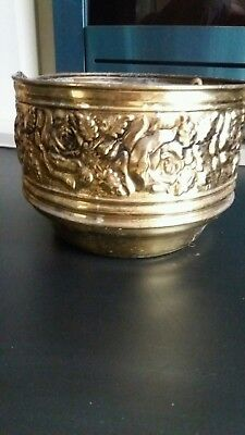 Antique English Brass Roses Indoor Planter large  *ystalyfera south wales