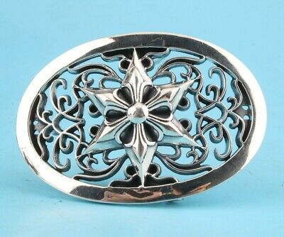 China Solid Silver Handmade Five-Pointed Star Belt Buckle High-End Old Gift