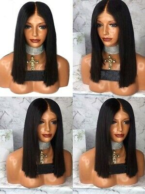 """AU 14"""" Short Straight Lace Front Wig Natural Black Synthetic Hair Handtied"""