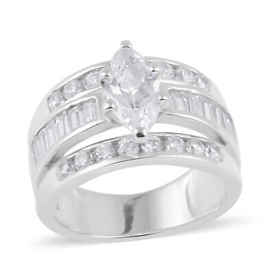 925 Sterling Silver Marquise Cubic Zirconia CZ Ring for Women Size 5 Ct 2.9