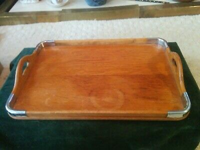 Vintage Butlers Tray, Edwardian?Solid Wood With Steel Corners
