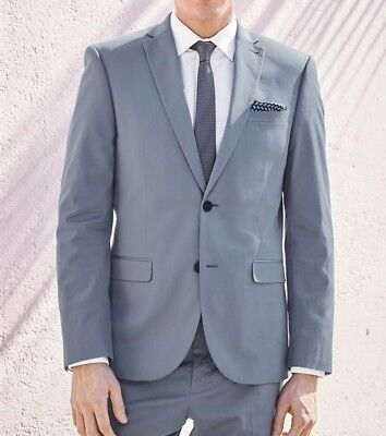 NEW Next Cotton Suit Jacket Slim Fit Light Blue Mens Size 34R Eur 44 RRP £75