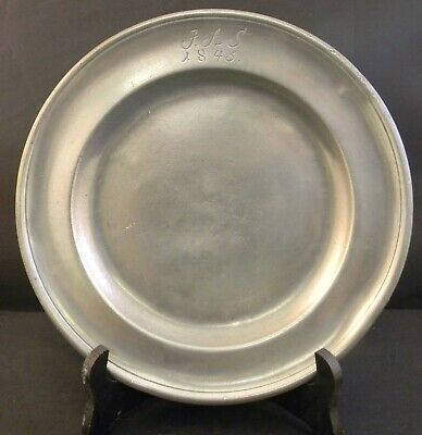 """Antique Pewter 9"""" Plate with Hallmarks Dated 1845"""