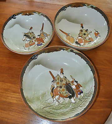 Superb Set of 3 Large Kutani Graduated Porcelain Bowls Hand Painted Meiji Period