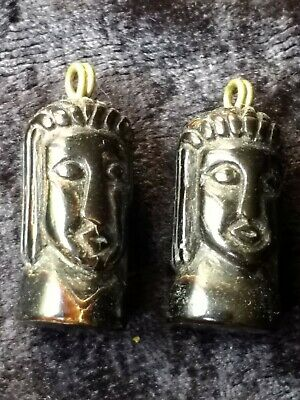 Superb Early 20th Century Carved Cow Horn Buddha Head Earring Drops Asian