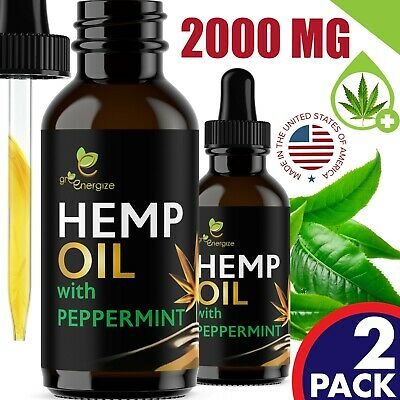 2 PACK Peppermint Flavor Hemp Oil Extract For Pain Relief Anxiety Sleep 2000 mg