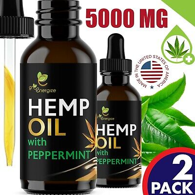 2 PACK Peppermint Flavor Hemp Oil Extract For Pain Relief Anxiety Sleep 5000 mg