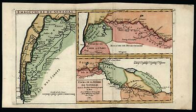 Senegal West Africa interior 1749 Vaugondy engraved map hand color