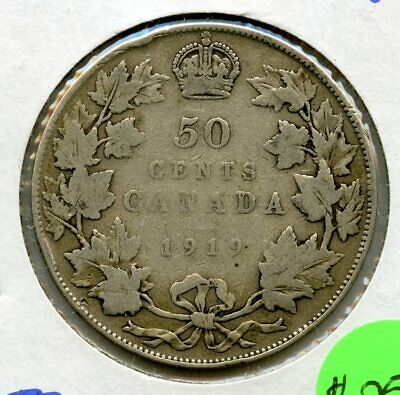 1919 Canada 50 Cents Silver Coin JD015