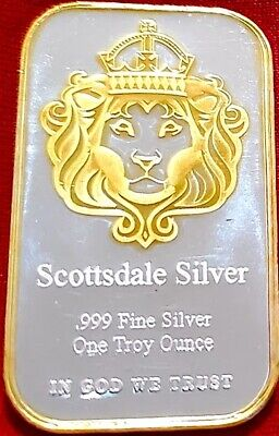 Scottsdale Omnia , 1 oz .999 pure Silver Bar , 24k Gold Gilded 1