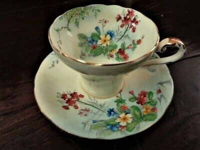 Aynsley Corset Shaped Tea Cup And Saucer Pale Yellow Floral