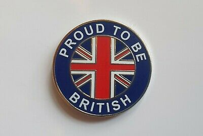 PROUD TO BE BRITISH Metal and Enamel Pin Badge Brexit badges UNION JACK
