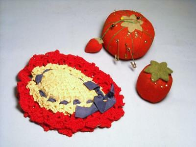 3 Vintage Pin Cushions 1-Small Tomato 1-Tomato w/ Strawberry 1-Crocheted  ...#18
