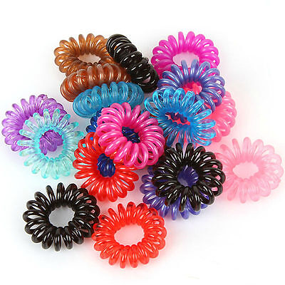 10pc Beautiful Girl Elastic Rubber Hair Ties Band Rope Ponytail Holder Spiral hm