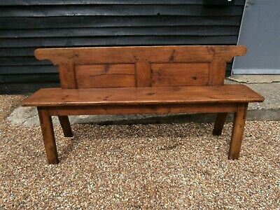 RARE 19th CENTURY CONTINENTAL PINE BENCH PEW ANTIQUE VICTORIAN  WE CAN DELIVER