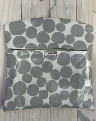 Peg Bag Made In  Large Spots Grey Wipeable Quality Oilcloth Fabric