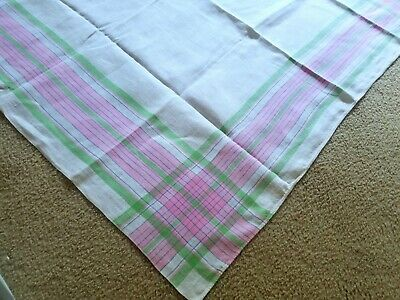 "Vintage Linen Pink & Green Plaid Tablecloth 52"" X 52"""