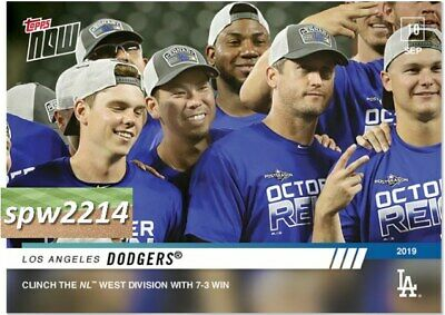 2019 Topps Now Los Angeles Dodgers #827 Clinch NL West Division