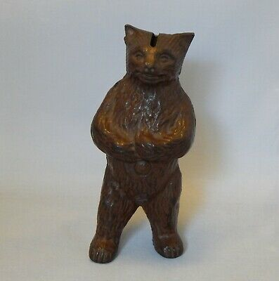 Vintage Cast Iron Standing Bear Bank Pat Applied For