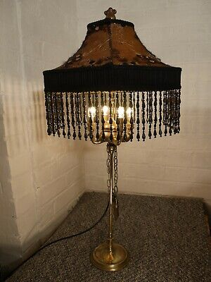Antique Lucerne Whale Oil Lamp Converted to Beautiful Table Lamp. Ornate Shade.
