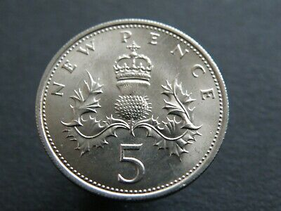 1968 - UNCIRCULATED - LARGE NEW FIVE PENCE 5p COIN - FIRST DECIMAL ISSUES (OS01)