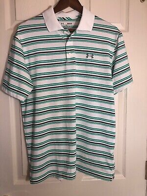 Under Armour Men Heatgear Loose Fit White/grey/green Striped Polo Shirt Size Med