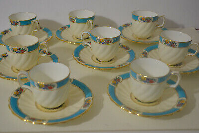 Vintage Minton Porcelain Demitasse Cups With Saucers -8 -Hand Painted